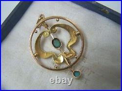 Vintage Antique Art Nouveau 9ct Gold Turquoise Seed Pearl Lavalier Pendant Rare