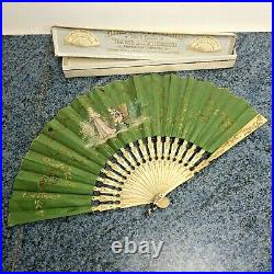 Vintage Antique Fine French Hand Painted Hand Fan In Satin Box Rare Decorative