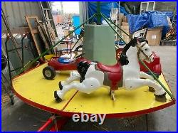 Vintage Antique Hand Operated Childrens Merry go Round Carousel Garden Very Rare