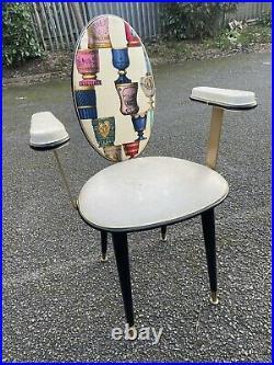Vintage Chair Stunning Italian 1950s 60s Original Rare Fornasetti Fabric