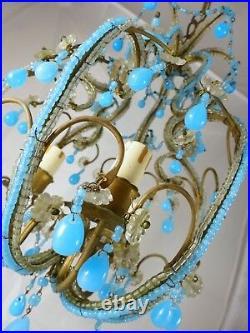 Vintage Chandelier Blue Opaline drops Beads 3 Lights Gouttes Macaroni 1940 RARE
