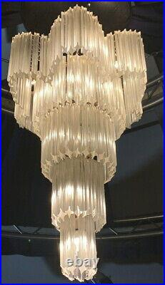Vintage Crystal Chandelier Cascading Waterfall light Murano Venini -RARE