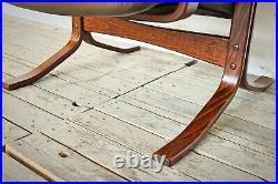 Vintage Danish Deluxe armchair teak & leather retro lounge chair midcentury rare