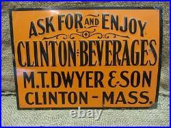 Vintage Embossed Clinton Beverages Sign Antique Old Signs Soda Drink RARE 6940