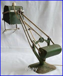 Vintage Hadrill & Horstmann Pluslite Lamp Magnifying Glass Rare Crackled Green