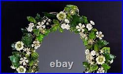 Vintage Italian Tole Shabby Flowers & Leaves Swivel Vanity Dresser Mirror Rare