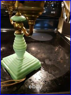 Vintage Jadeite Green Glass Table Lamp Antique extremely rare double light