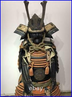 Vintage Jp Traditional Armor Yoroi Samurai Life-Size Wearing Craft Very Rare O