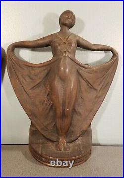 Vintage Lady BRONZE IRON Art Nouveau BOOKENDS Antique Art Deco Dancing rare