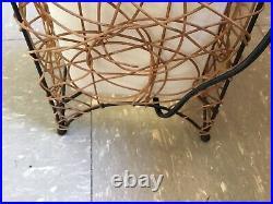 Vintage MID Century Modern Floor Lamp Wicker Cloth 2 Light Fixture 46 Tall Rare