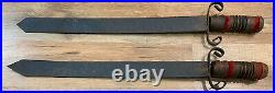 Vintage Medieval Swords Flail and Wooden Wall Rack Decor RARE Goth Ball Chain