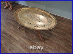 Vintage Mid Century Modern 41 x 26 Brass Coffee table with folding legs RARE