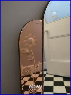Vintage Rare Art Deco Bevelled & Etched Mirror Large Rose Gold