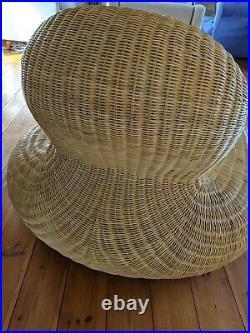Vintage Ratan Lounger Chair By Carl Ojerstam Ikea RARE