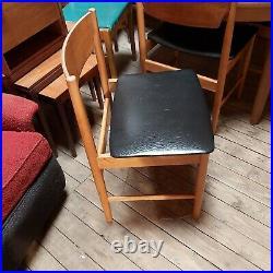 Vintage Retro Set of 6 Dining Chairs Danish Style Black Vinyl 2 Carvers rare