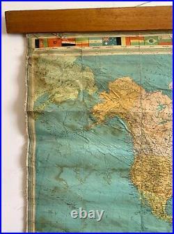 Vintage World Map, Vintage World Atlas Pull down Map, Rare Map, Political School