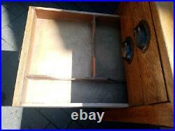 Vintage rare'Wake & Dean' George VI 5 drawer single pedestal Ministry oak desk