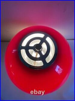 Vtg Rare MCM Mid Century Acrylic Space Age Mushroom Table Lamp Red White Chrome