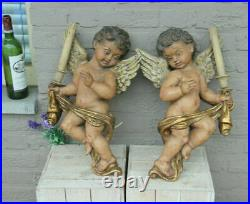 XL PAIR italian vintage Ceramic chalkware putti angels wall lights sconces rare